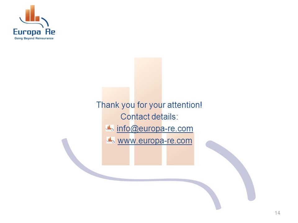 Thank you for your attention! Contact details: info@europa-re.com www.europa-re.com 14