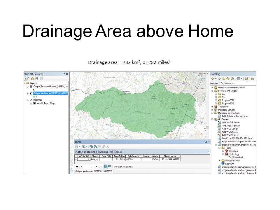Drainage Area above Home Drainage area = 732 km 2, or 282 miles 2