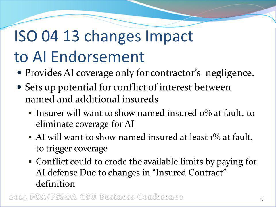 ISO 04 13 changes Impact to AI Endorsement Provides AI coverage only for contractors negligence.