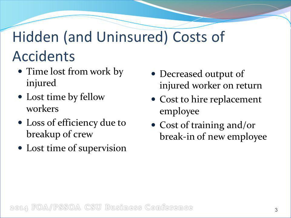 Hidden (and Uninsured) Costs of Accidents Time lost from work by injured Lost time by fellow workers Loss of efficiency due to breakup of crew Lost time of supervision Decreased output of injured worker on return Cost to hire replacement employee Cost of training and/or break-in of new employee 3