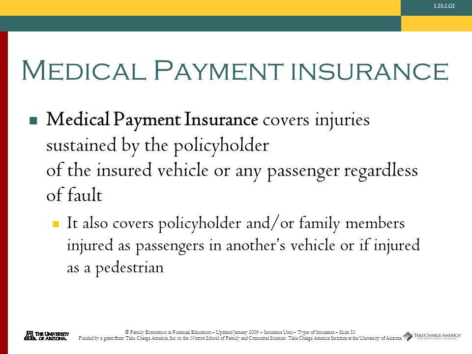 © Family Economics & Financial Education – Updated January 2009 – Insurance Unit – Types of Insurance – Slide 10 Funded by a grant from Take Charge America, Inc.