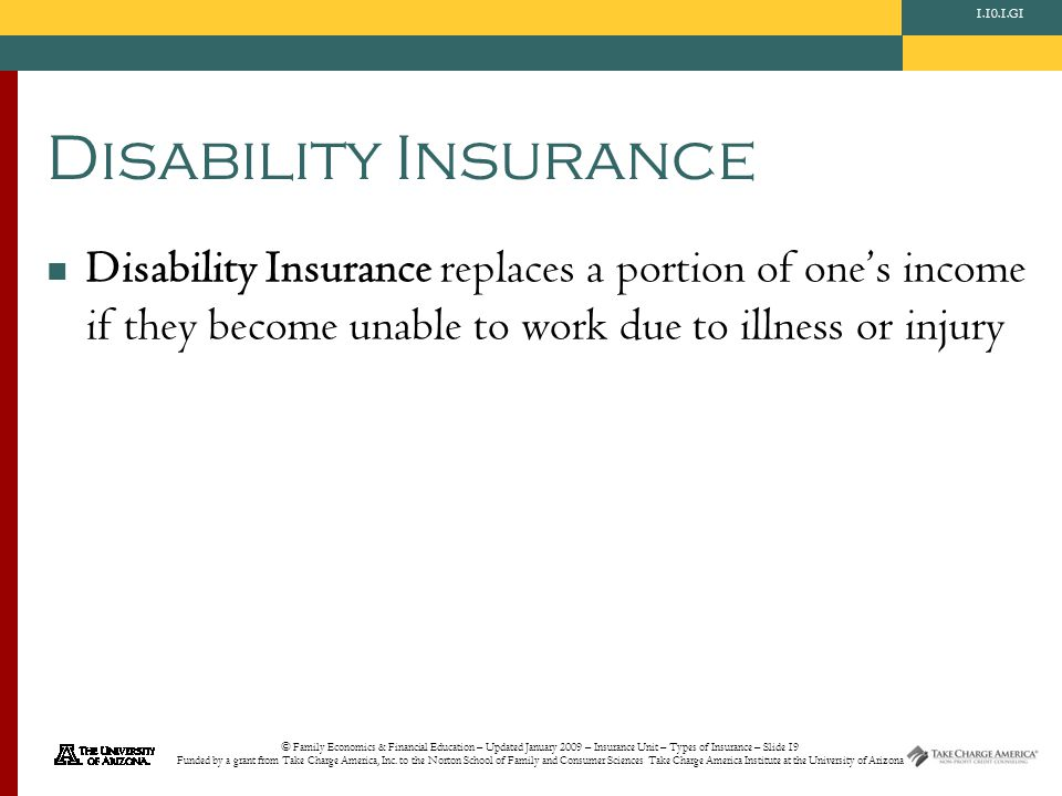 © Family Economics & Financial Education – Updated January 2009 – Insurance Unit – Types of Insurance – Slide 19 Funded by a grant from Take Charge Am