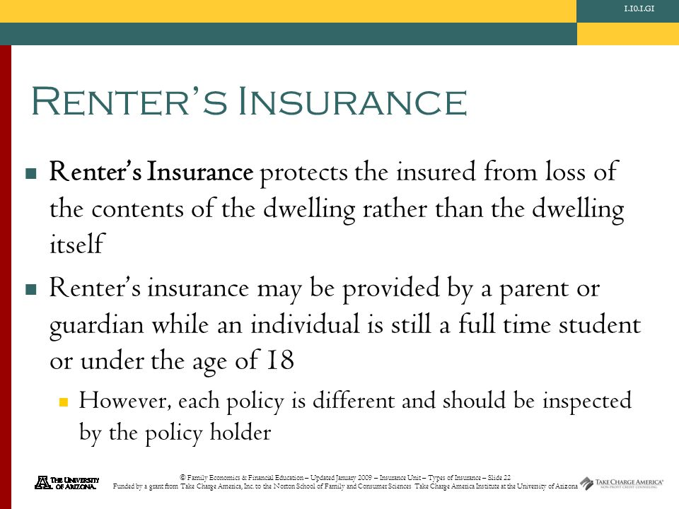© Family Economics & Financial Education – Updated January 2009 – Insurance Unit – Types of Insurance – Slide 22 Funded by a grant from Take Charge America, Inc.