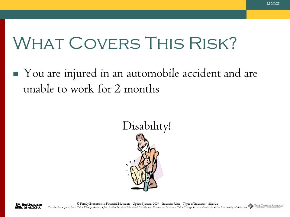 © Family Economics & Financial Education – Updated January 2009 – Insurance Unit – Types of Insurance – Slide 24 Funded by a grant from Take Charge Am