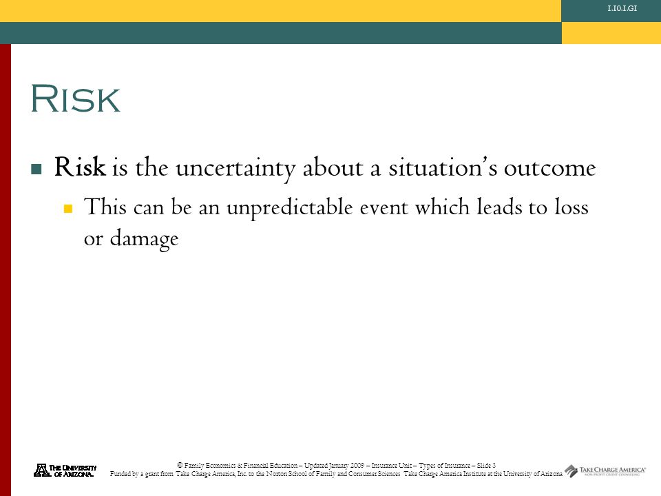 © Family Economics & Financial Education – Updated January 2009 – Insurance Unit – Types of Insurance – Slide 3 Funded by a grant from Take Charge America, Inc.