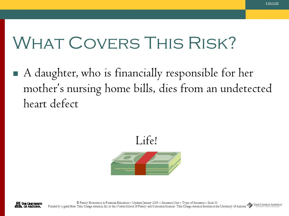 © Family Economics & Financial Education – Updated January 2009 – Insurance Unit – Types of Insurance – Slide 30 Funded by a grant from Take Charge America, Inc.