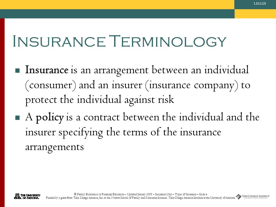 © Family Economics & Financial Education – Updated January 2009 – Insurance Unit – Types of Insurance – Slide 4 Funded by a grant from Take Charge America, Inc.