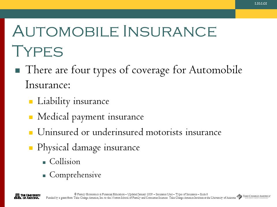 © Family Economics & Financial Education – Updated January 2009 – Insurance Unit – Types of Insurance – Slide 8 Funded by a grant from Take Charge Ame