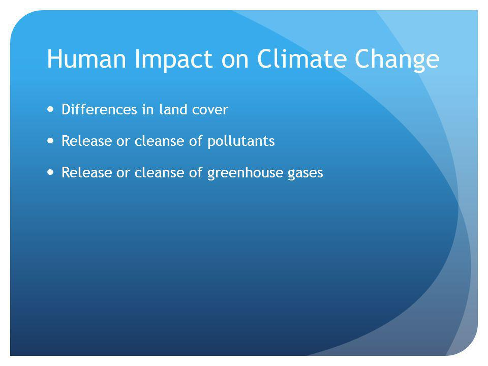 Human Impact on Climate Change Differences in land cover Release or cleanse of pollutants Release or cleanse of greenhouse gases