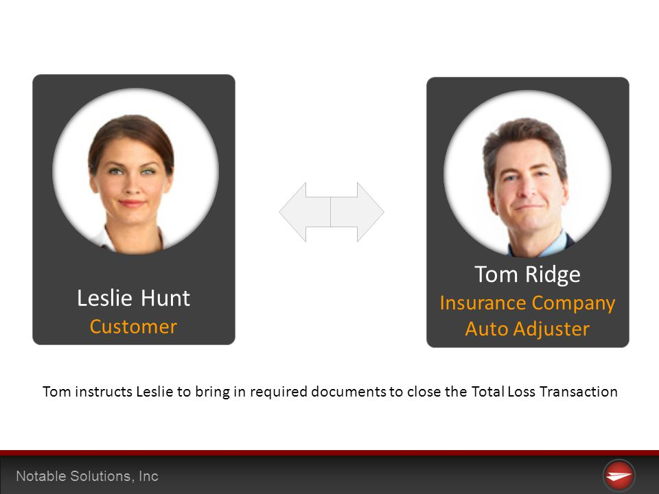 Notable Solutions, Inc Tom instructs Leslie to bring in required documents to close the Total Loss Transaction