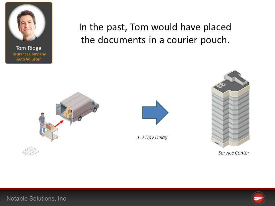 Notable Solutions, Inc Operation Center Service Center 1-2 Day Delay In the past, Tom would have placed the documents in a courier pouch.
