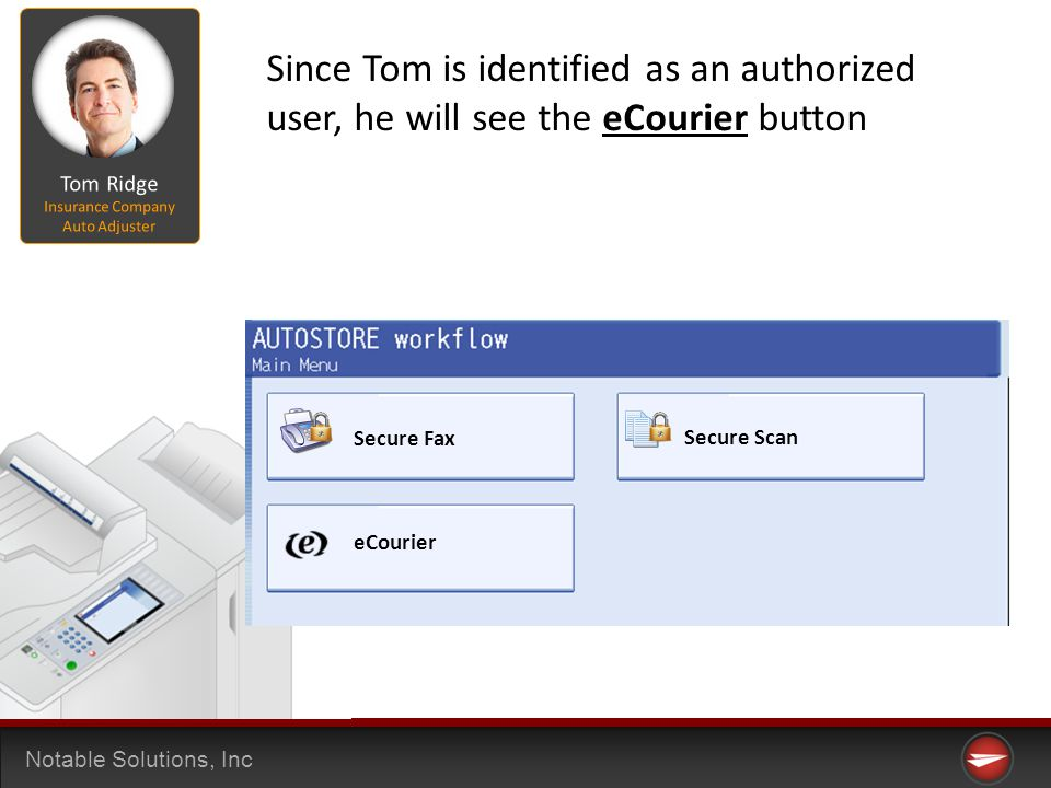 Notable Solutions, Inc Secure Fax Secure Scan eCourier Since Tom is identified as an authorized user, he will see the eCourier button