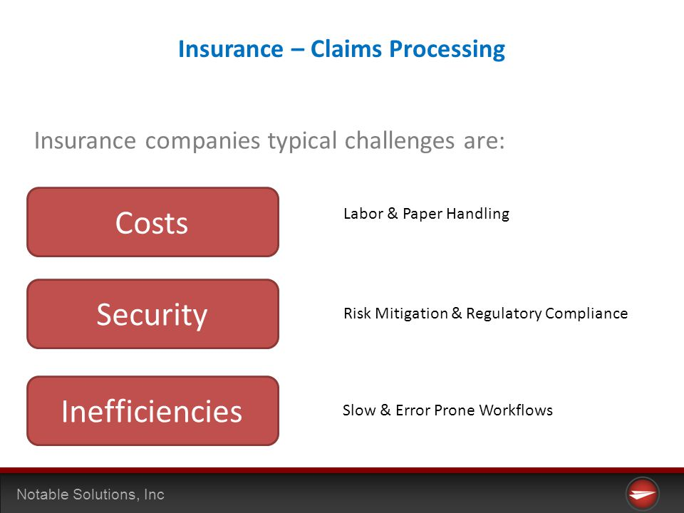 Notable Solutions, Inc Insurance companies typical challenges are: Costs Security Inefficiencies Labor & Paper Handling Risk Mitigation & Regulatory Compliance Slow & Error Prone Workflows Insurance – Claims Processing