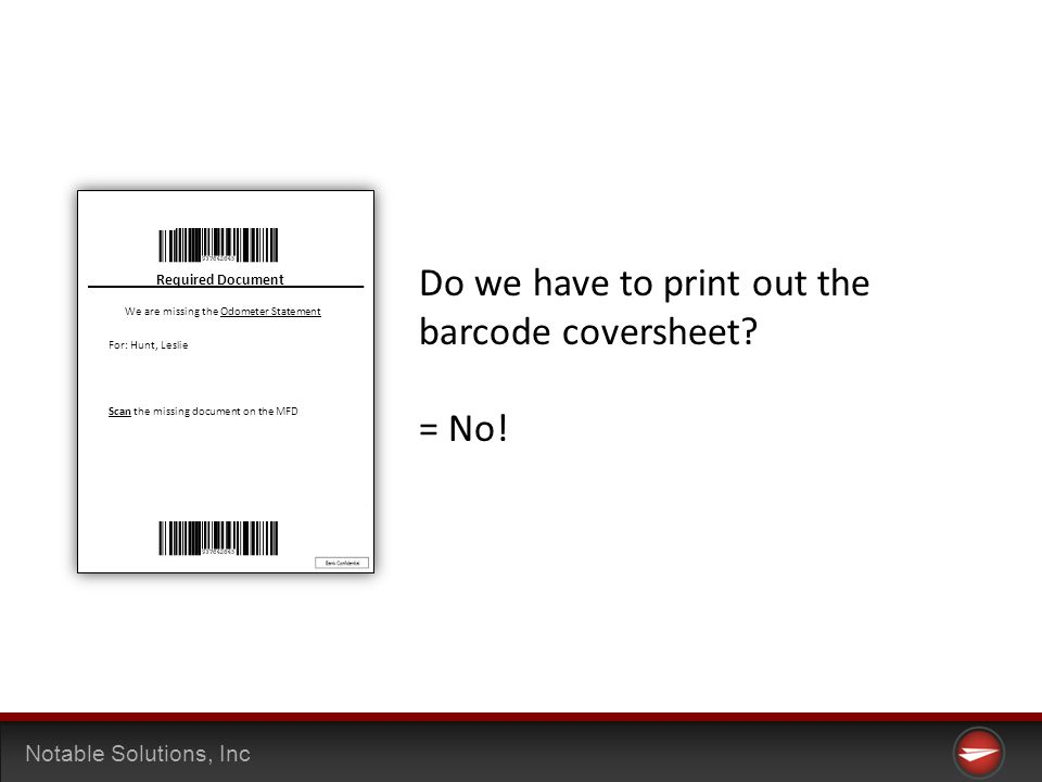 Notable Solutions, Inc Do we have to print out the barcode coversheet.