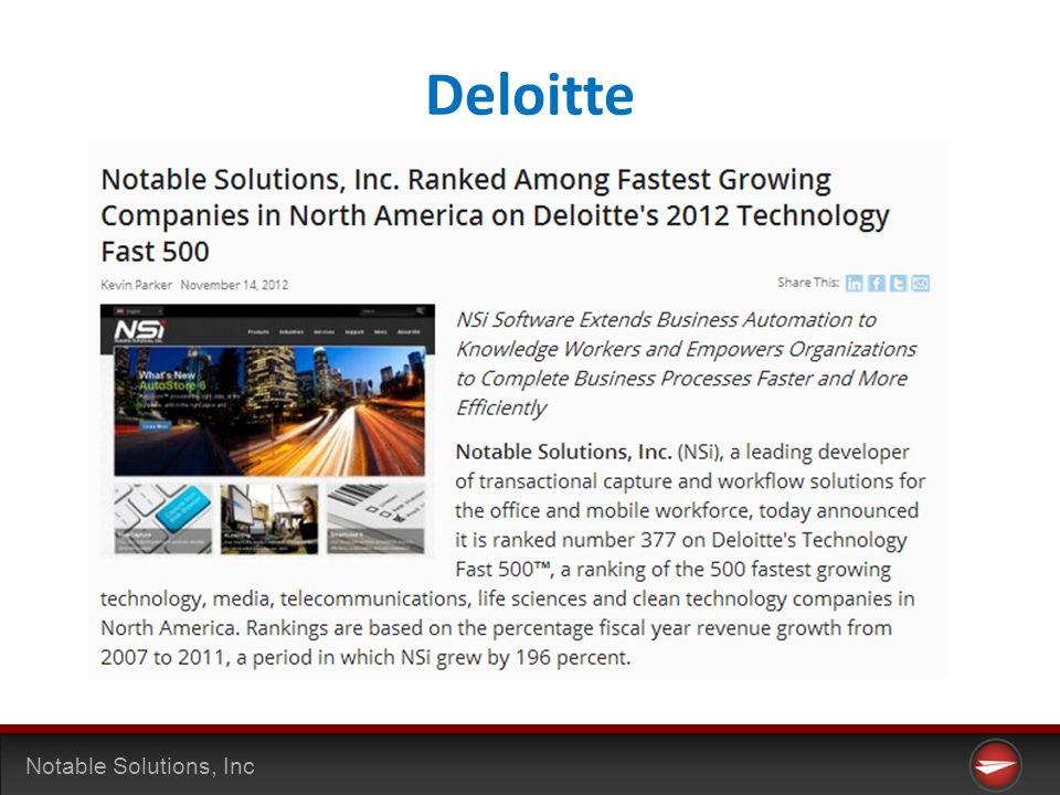 Notable Solutions, Inc Deloitte