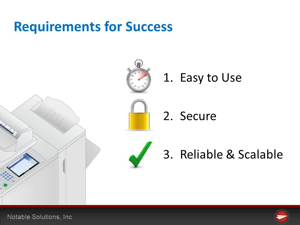 Notable Solutions, Inc 1.Easy to Use 2.Secure 3.Reliable & Scalable Requirements for Success