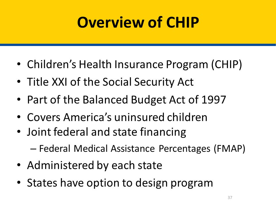 Childrens Health Insurance Program (CHIP) Title XXI of the Social Security Act Part of the Balanced Budget Act of 1997 Covers Americas uninsured child