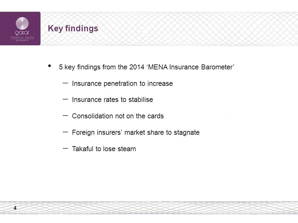 4 Key findings 5 key findings from the 2014 MENA Insurance Barometer Insurance penetration to increase Insurance rates to stabilise Consolidation not
