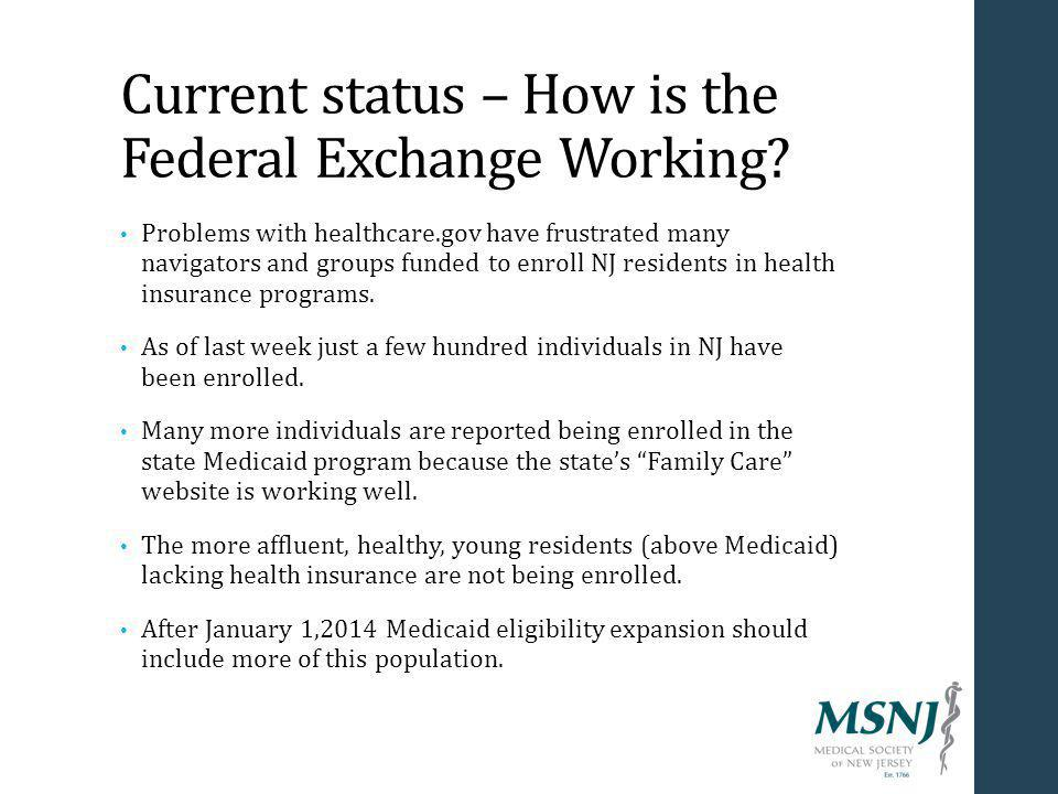 Current status – How is the Federal Exchange Working.