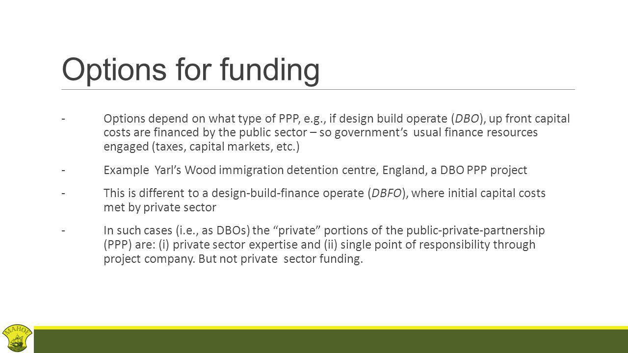 Financing PFIs (Structure) Typical structure of a Private Finance Initiative (PFI) project: (i)special purpose vehicle (SPV) as Proj Co (ii)Hold Co/sponsors who will provide equity capital to Proj Co (iii)private sector finance into Proj Co (iv)key sub-contracts typically Construction Contract and Operation & Maintenance subcontracts