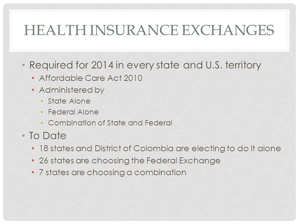 HEALTH INSURANCE EXCHANGES Required for 2014 in every state and U.S.