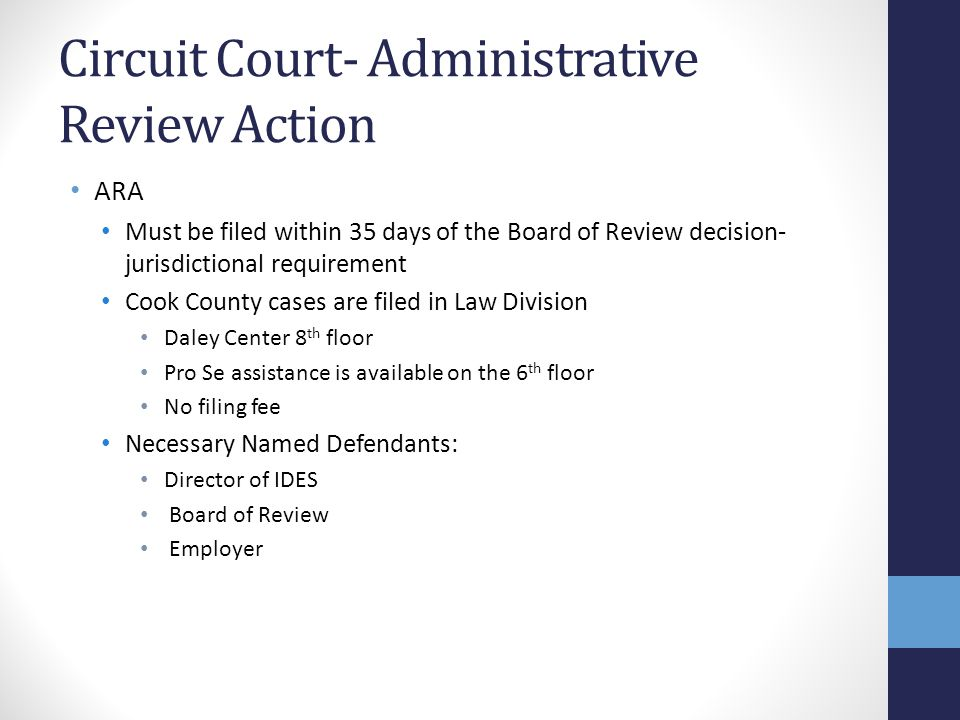 Circuit Court- Administrative Review Action ARA Must be filed within 35 days of the Board of Review decision- jurisdictional requirement Cook County c