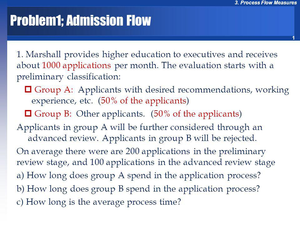 1 3. Process Flow Measures Problem1; Admission Flow 1. Marshall provides higher education to executives and receives about 1000 applications per month