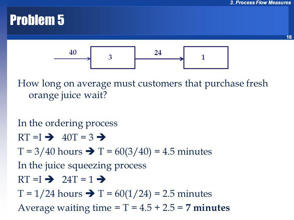 16 3. Process Flow Measures Problem 5 How long on average must customers that purchase fresh orange juice wait? In the ordering process RT =I 40T = 3
