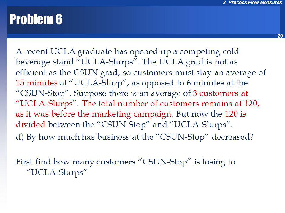20 3. Process Flow Measures Problem 6 A recent UCLA graduate has opened up a competing cold beverage stand UCLA-Slurps. The UCLA grad is not as effici