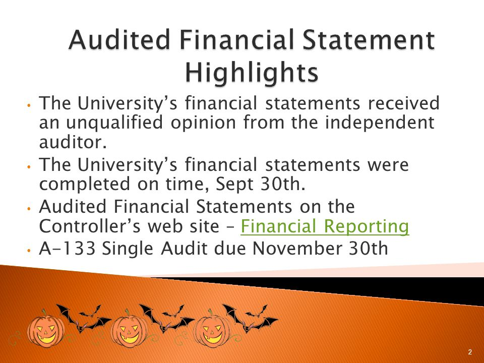 The Universitys financial statements received an unqualified opinion from the independent auditor.