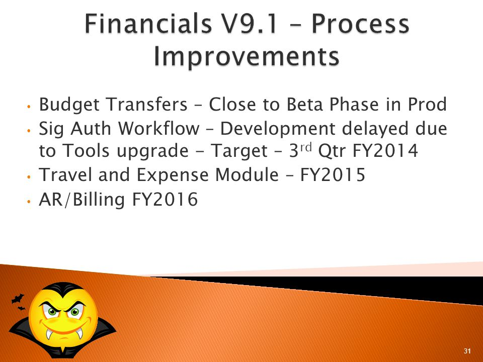 31 Budget Transfers – Close to Beta Phase in Prod Sig Auth Workflow – Development delayed due to Tools upgrade - Target – 3 rd Qtr FY2014 Travel and Expense Module – FY2015 AR/Billing FY2016