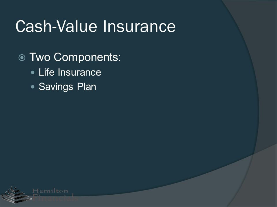 Cash-Value Insurance Two Components: Life Insurance Savings Plan