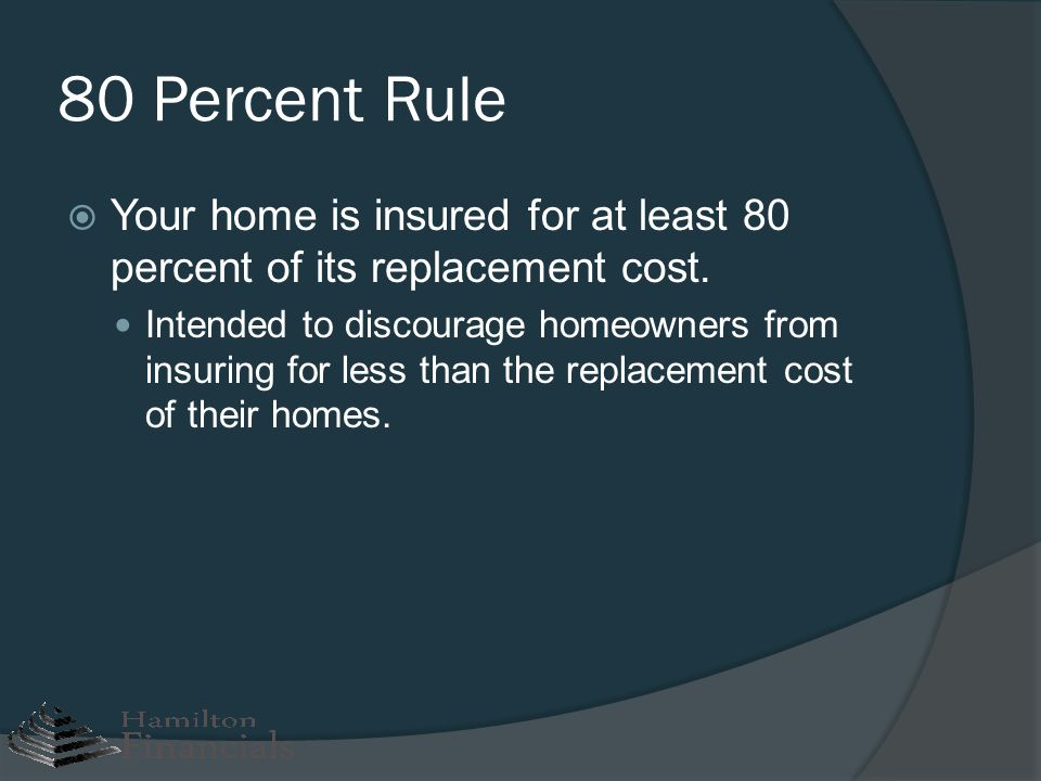 80 Percent Rule Your home is insured for at least 80 percent of its replacement cost. Intended to discourage homeowners from insuring for less than th