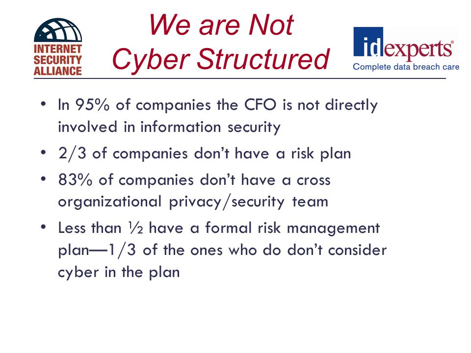 What to Do… Good News: We know a lot about how to solve this problem--80-90% can be solved by using best practices and standardsmost dont due to cost Focus on Enterprise Education so companies understand total financial cyber risk Get a copy of Financial Management of CyberRisk….A framework for CFOs