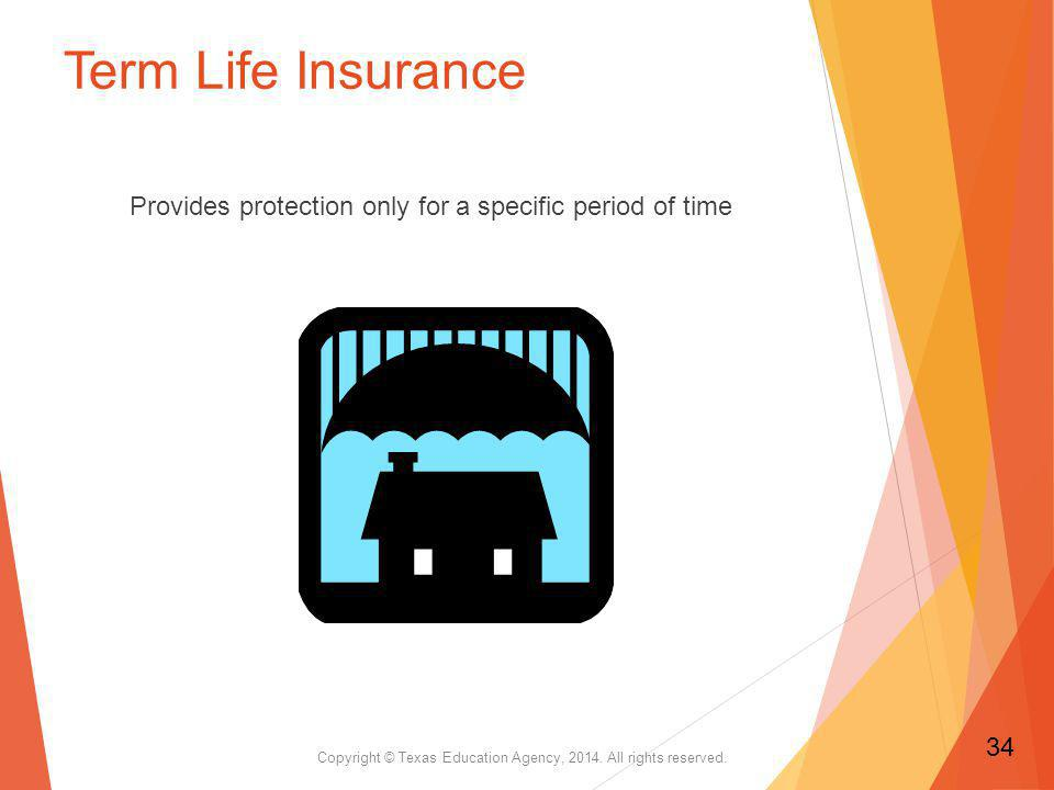 Term Life Insurance Provides protection only for a specific period of time Copyright © Texas Education Agency, 2014.