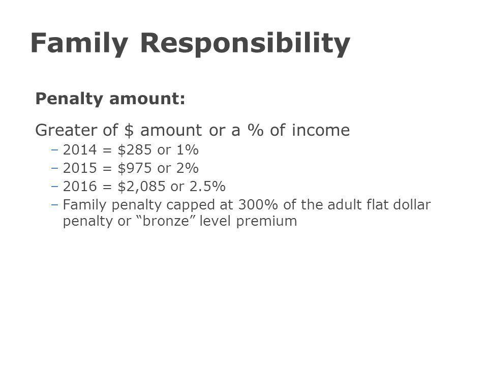 Family Responsibility Penalty amount: Greater of $ amount or a % of income –2014 = $285 or 1% –2015 = $975 or 2% –2016 = $2,085 or 2.5% –Family penalty capped at 300% of the adult flat dollar penalty or bronze level premium