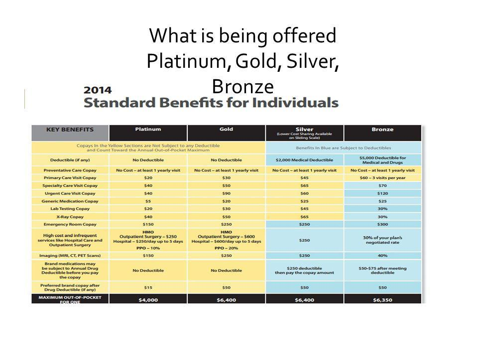 SAMPL E What is being offered Platinum, Gold, Silver, Bronze