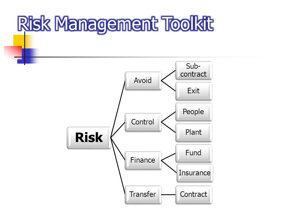 Risk Avoid Sub- contract ExitControlPeoplePlant FinanceFund Insurance TransferContract