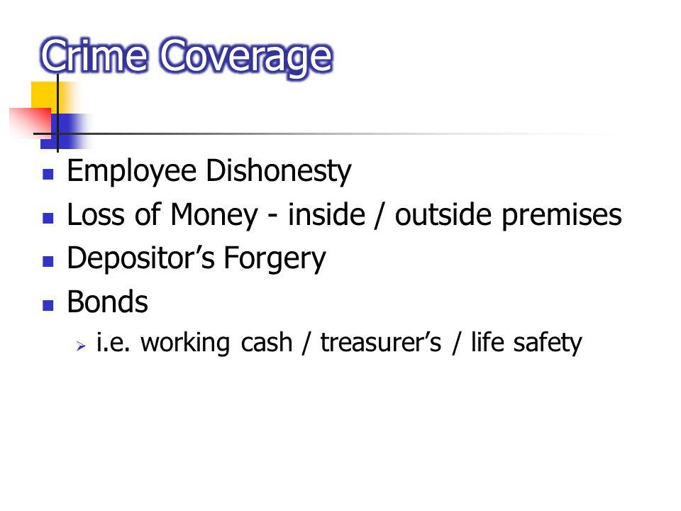 Employee Dishonesty Loss of Money - inside / outside premises Depositors Forgery Bonds i.e.
