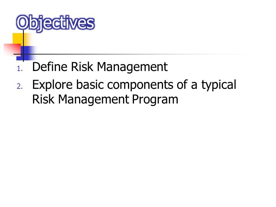 1. Define Risk Management 2. Explore basic components of a typical Risk Management Program