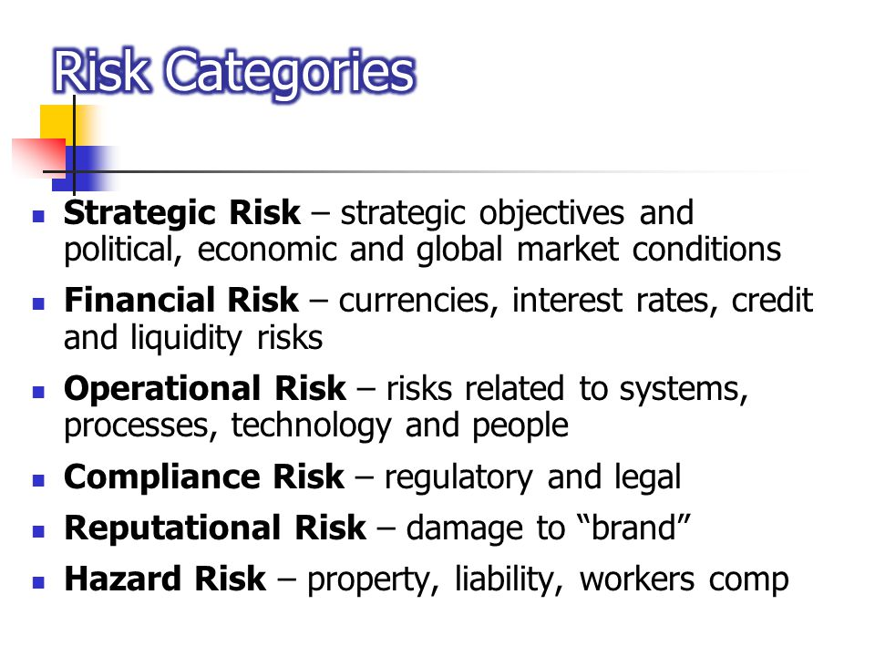 Strategic Risk – strategic objectives and political, economic and global market conditions Financial Risk – currencies, interest rates, credit and liq