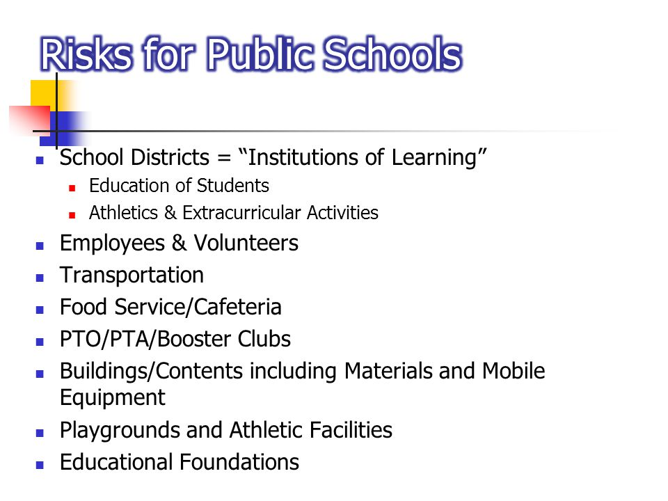 School Districts = Institutions of Learning Education of Students Athletics & Extracurricular Activities Employees & Volunteers Transportation Food Se