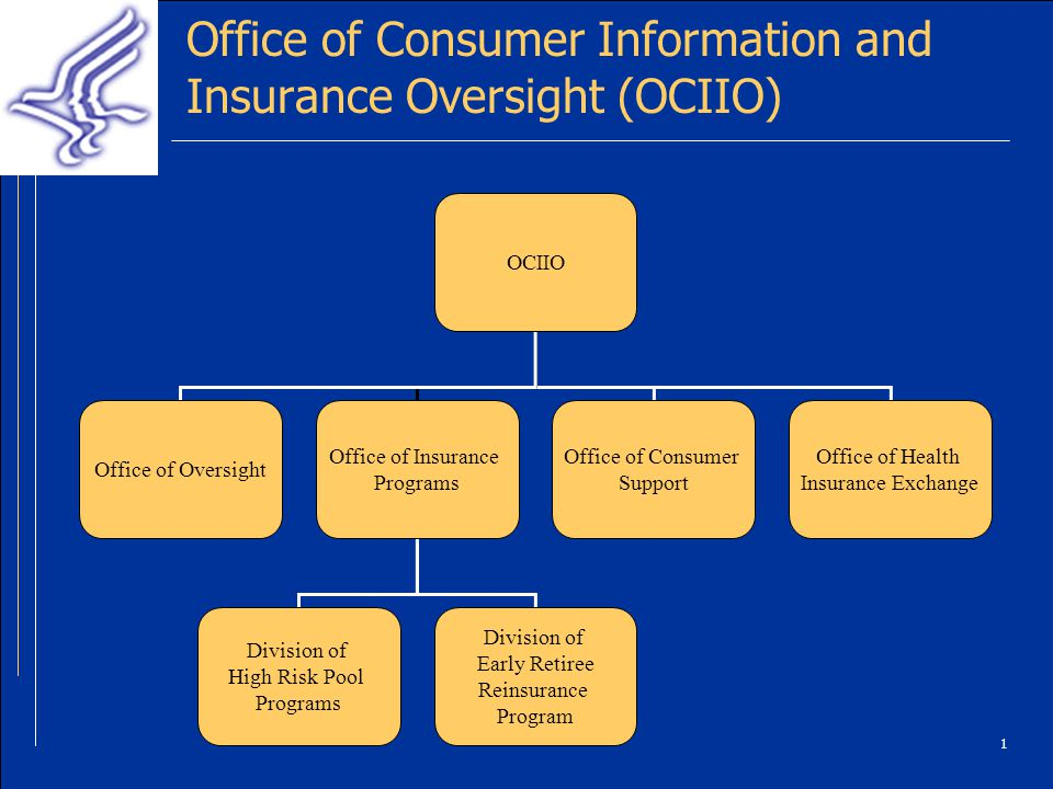 1 Office of Consumer Information and Insurance Oversight (OCIIO) OCIIO Office of Oversight Office of Insurance Programs Office of Consumer Support Office of Health Insurance Exchange Division of High Risk Pool Programs Division of Early Retiree Reinsurance Program