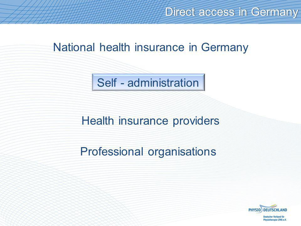 National health insurance in Germany Direct access in GermanyDirect access in Germany Self - administration Health insurance providers Professional organisations