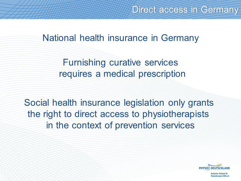 Direct access in GermanyDirect access in Germany National health insurance in Germany Furnishing curative services requires a medical prescription Soc