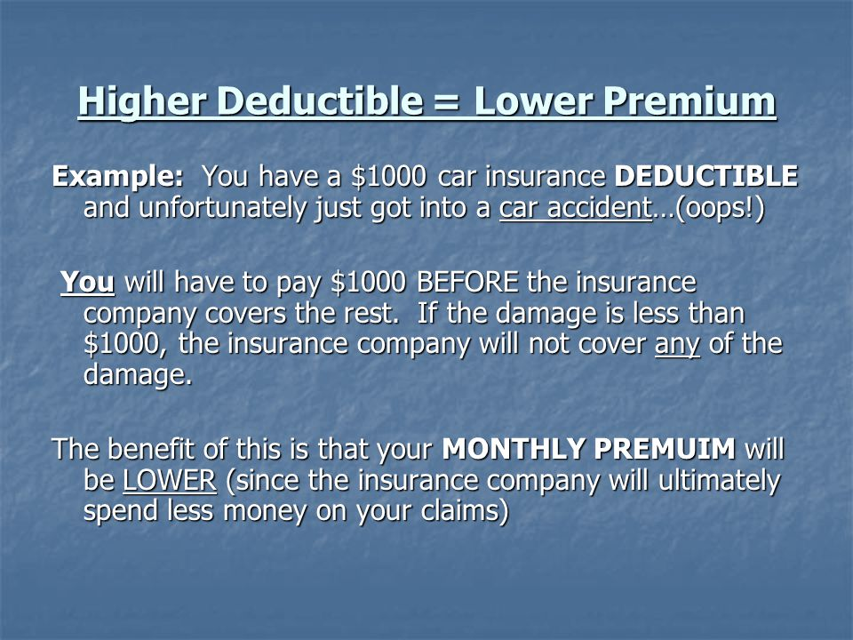 Higher Deductible = Lower Premium Example: You have a $1000 car insurance DEDUCTIBLE and unfortunately just got into a car accident…(oops!) You will have to pay $1000 BEFORE the insurance company covers the rest.