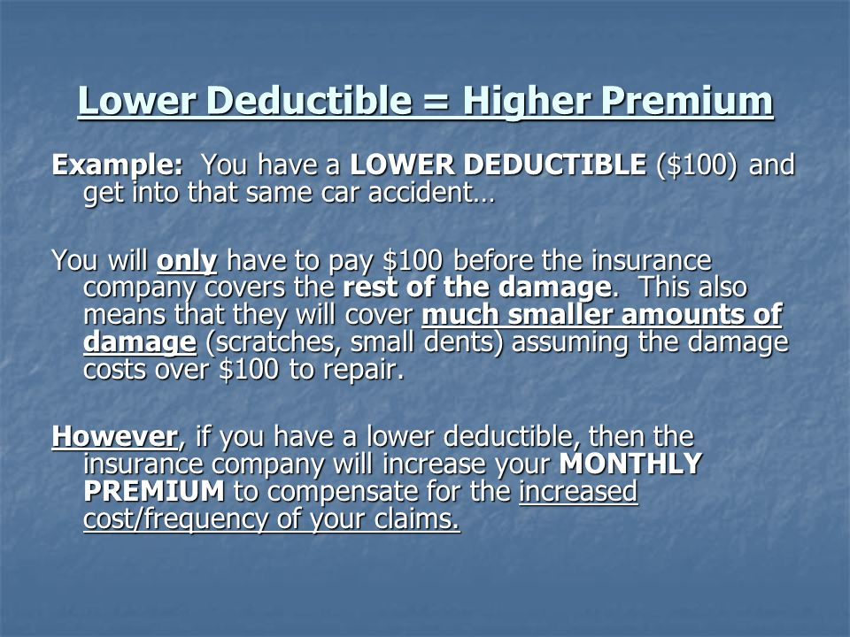 Lower Deductible = Higher Premium Example: You have a LOWER DEDUCTIBLE ($100) and get into that same car accident… You will only have to pay $100 before the insurance company covers the rest of the damage.