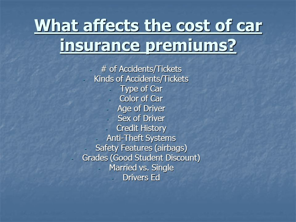 What affects the cost of car insurance premiums.