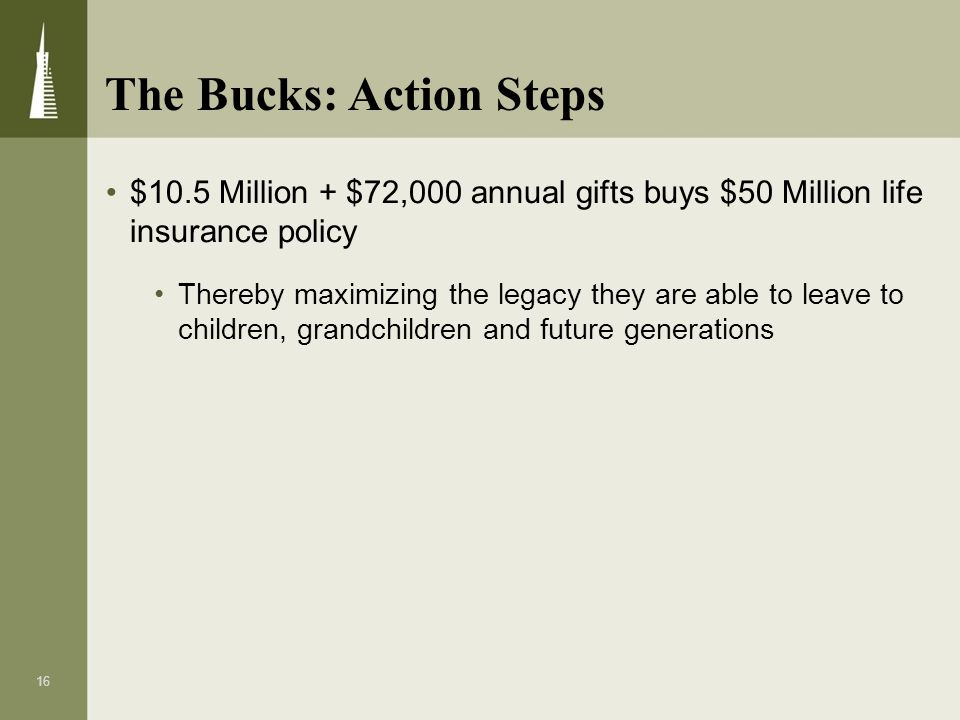16 $10.5 Million + $72,000 annual gifts buys $50 Million life insurance policy Thereby maximizing the legacy they are able to leave to children, grand