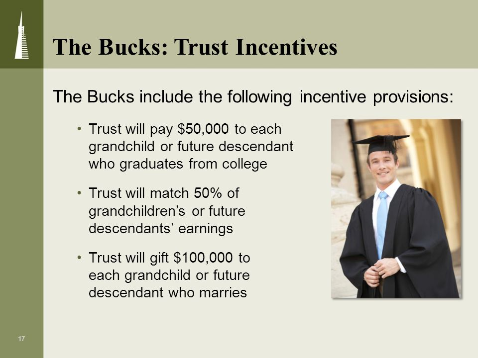 17 The Bucks include the following incentive provisions: Trust will pay $50,000 to each grandchild or future descendant who graduates from college Tru